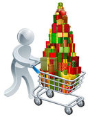 Person christmas gift shopping — Stock Vector