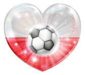 Polish soccer heart flag — Stock Vector