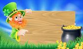 Saint Patricks day leprechaun scene — Stock Vector