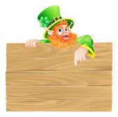 Cartoon Leprechaun Wooden Sign — Stock Vector
