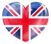 Union jack british heart flag — Stock Vector