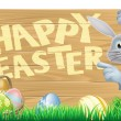 Bunny pointing at Happy Easter message — Stock Vector