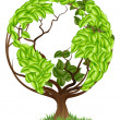 Green Tree Globe Earth World Concept — Stockvector