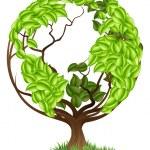 Green Tree Globe Earth World Concept — Wektor stockowy