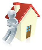 Maskot osobu a dům — Stock vektor