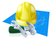 Hard hat tools and blueprint — Stock Vector