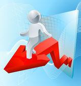 Silver man business chart arrow — Stock Vector