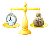 Time money balance scales — Stockvector