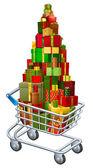 Christmas gift shopping concept — Stock Vector
