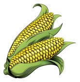 Kukurydza drzeworyt vintage ilustracji — Wektor stockowy