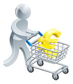 Person pushing trolley with euro sign — Vettoriale Stock