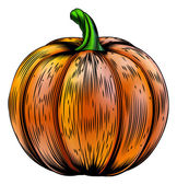 Pumpkin vintage woodcut illustration — Stock Vector