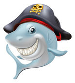 Pirate shark cartoon — Stock Vector