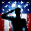 Hero Soldier and Stars and Stripes — Stock Vector #45207787