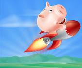 Rocket Piggy Bank — Stock Vector