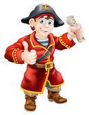 Przyjazny pirata i mapę skarbów — Wektor stockowy
