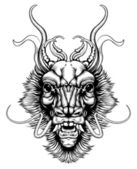 Woodblock style dragon head — Vecteur