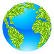 Green Leaves Globe Earth World Concept — Vettoriale Stock