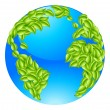 Green Leaves Globe Earth World Concept — ストックベクタ