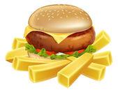 Burger und chips oder pommes frites — Stockvektor