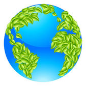 Green Leaves Globe Earth World Concept — Stock Vector