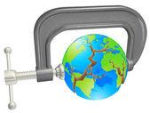 Clamp breaking world globe — Stock Vector