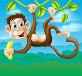 Monkey cartoon in jungle swinging on vine — Stock Vector
