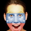 Girl with venezuelan flag on her face — Stock Photo #19672137