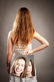 Girl with two faces — Stock Photo