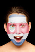 Girl with Costa Rican flag on her face — Stock Photo