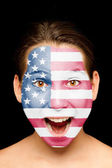girl with united states flag on her face — Stock Photo
