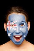 Meisje met australische vlag op haar gezicht — Stockfoto