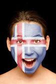 Girl with icelandic flag painted on her face — Stock Photo