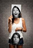 Menina com duas faces — Foto Stock