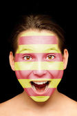 Girl with catalan flag on her face — Stock Photo