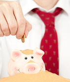 Putting money on a buried piggy bank — Stock Photo