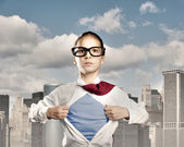 Superhero little girl — Stock Photo