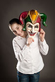 Girl with carnival mask — Stock Photo
