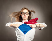 Woman like a superhero — Stock Photo