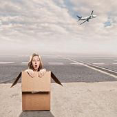 Inside a box at airport — Stock Photo