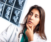 Examining a mammogram — Stock Photo