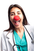 Clown doctor having fun — Stockfoto