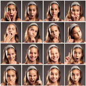 Collection of little girl portraits — Stock Photo