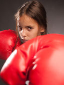 Boxer de menina pequena — Fotografia Stock