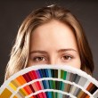 Woman with pantone — Stock Photo