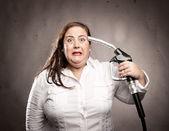 Vrouw schieten zichzelf — Stockfoto