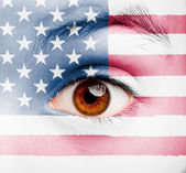 Girl with united states flag painted — Stock Photo