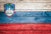Slovenian flag on wood — Stock Photo