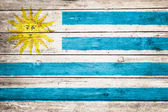 Uruguayan flag on wood — Stock Photo