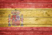 Spanish flag on wood — Stock Photo